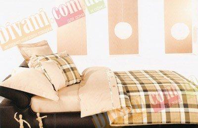Евро комплект постельного белья Шотландка коричневая -733
