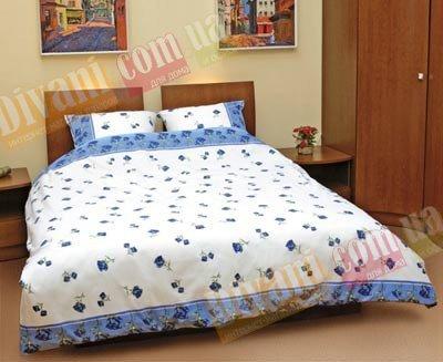 Двухспальный комплект постельного белья Синяя роза распущенная -518