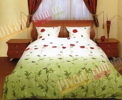 Двухспальный комплект постельного белья Маки зеленые с бабочками -533