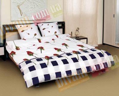 Двухспальный комплект постельного белья Бутон комби -594