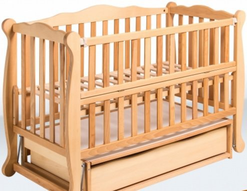 Детская кровать-маятник «Натали» с откидной боковиной и ящиком