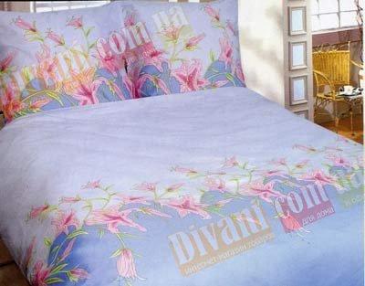 Двухспальный комплект постельного белья Голубая лилия -659