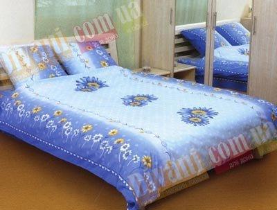 Семейный комплект постельного белья Большая синяя ромашка -544