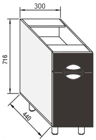 Модуль Н 30 низ кухня Адель Люкс