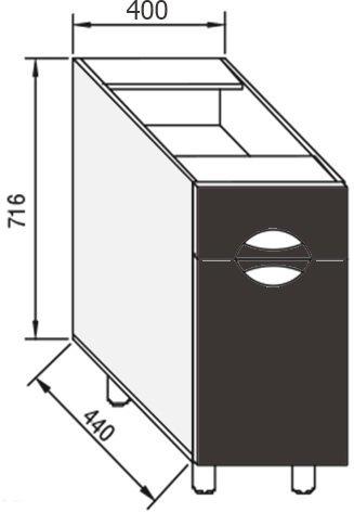 Модуль Н 40 низ кухня Адель Люкс