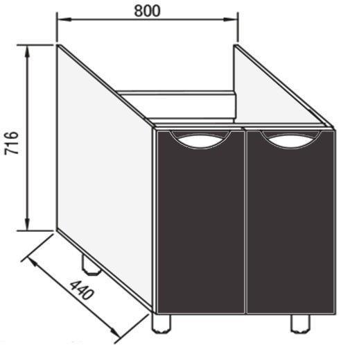 Модуль Н 80М низ кухня Адель Люкс