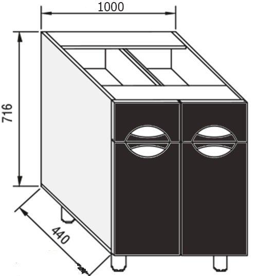 Модуль Н 100 низ кухня Адель Люкс