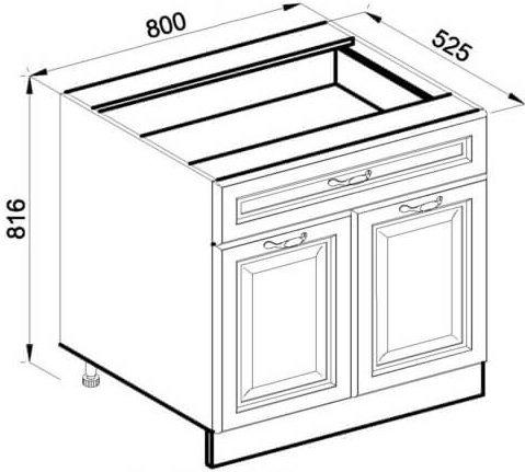 Модуль Н 80 2Д низ кухня Роксана