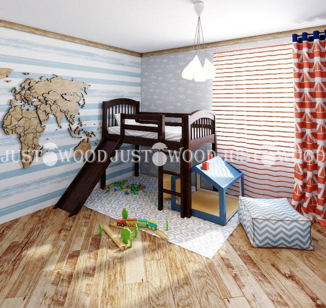 Детская кровать-чердак Снежок с горкой