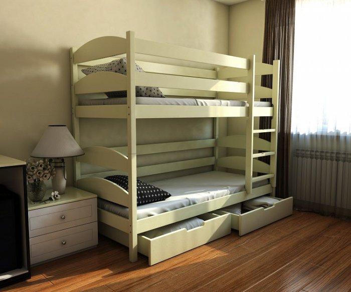 Двухъярусная кровать Лакки массив 80х190/200 см