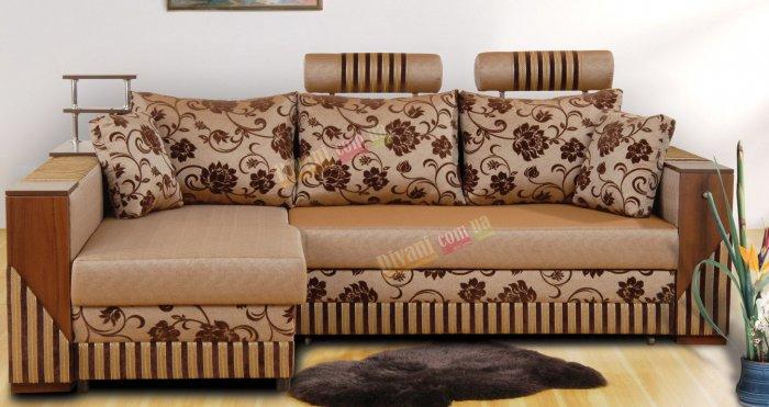 Угловой диван Оскар с подголовником и угловой полкой