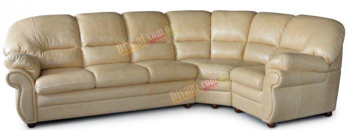 Кожаный угловой диван Кардинал 3+угол+1