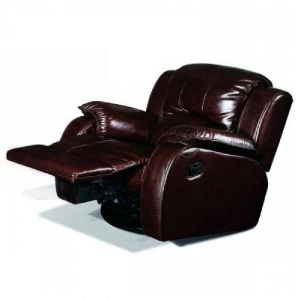 Кожаное кресло Minnesota 500-98rs реклайнер + вращение + качание