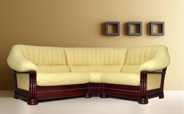 Кожаный угловой диван Монарх 1+угол+2