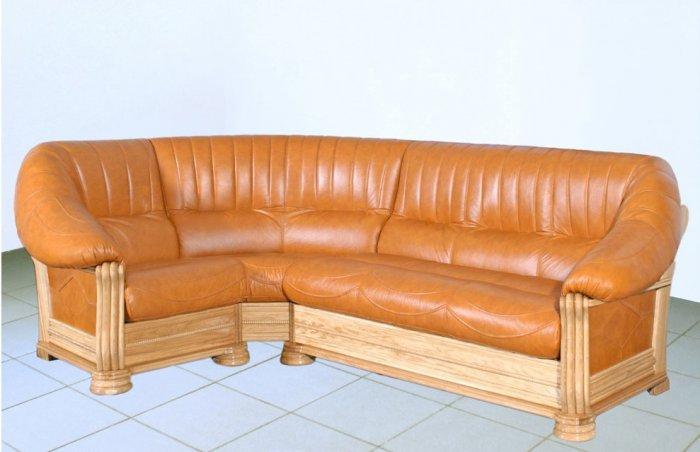 Кожаный угловой диван Монарх 1+угол+3