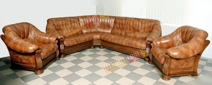 Кожаный угловой диван Монарх 2+угол+3