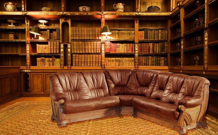 Кожаный угловой диван Кардинал 2+угол+3