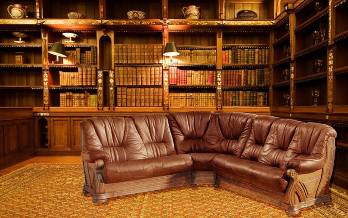 Кожаный угловой диван Кардинал 3+угол+3