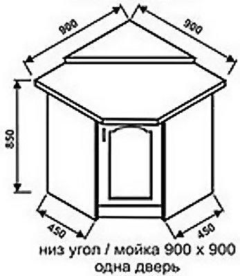Низ угол 900х900 одна дверь для кухни Ретро