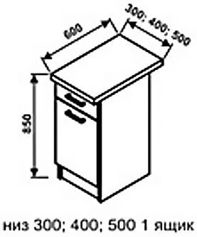 Низ 500 1 ящик для кухни Техно
