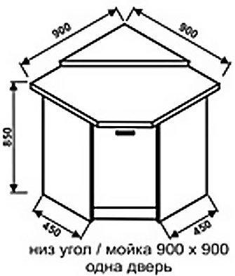 Низ угол 900х900 одна дверь для кухни Техно
