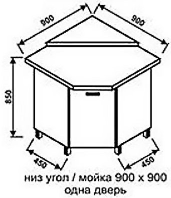 Низ мойка 900х900 одна дверь для кухни Модерн
