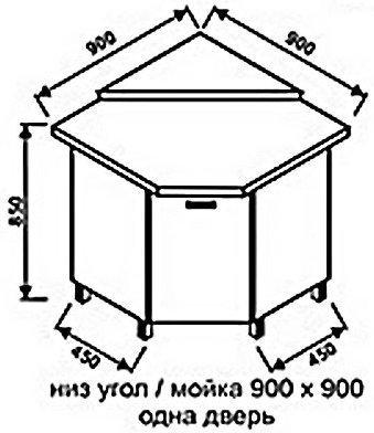Низ угол 900х900 одна дверь для кухни Модерн+