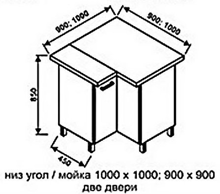 Низ мойка 1000х1000 для кухни Модерн+