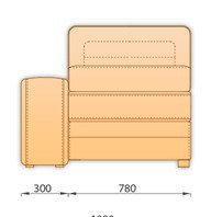 Модуль кожаного дивана Нью-Йорк 1 секция (1С 0.78)