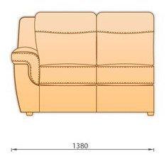 Модуль кожаного дивана Гермес 2 секция с 1 подлокотником (2СП)