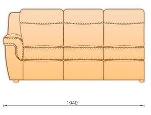 Модуль кожаного дивана Гермес 3 секция с 1 подлокотником 3СП