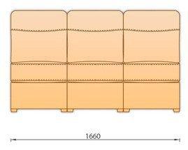 Модуль кожаного дивана Гермес 3 секция без подлокотника 3С